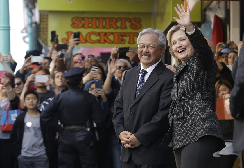 Ed Lee with Hillary Clinton