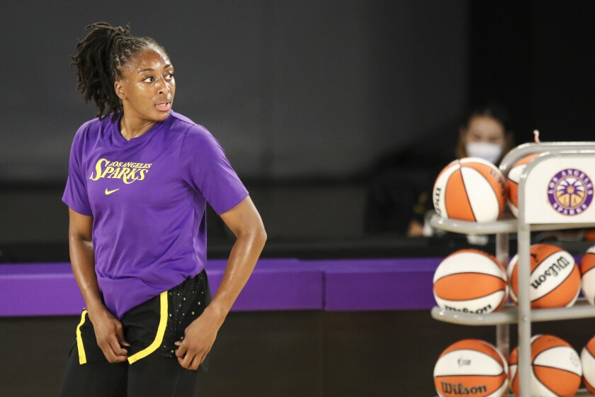 Sparks forward Nneka Ogwumike warms up before a game.