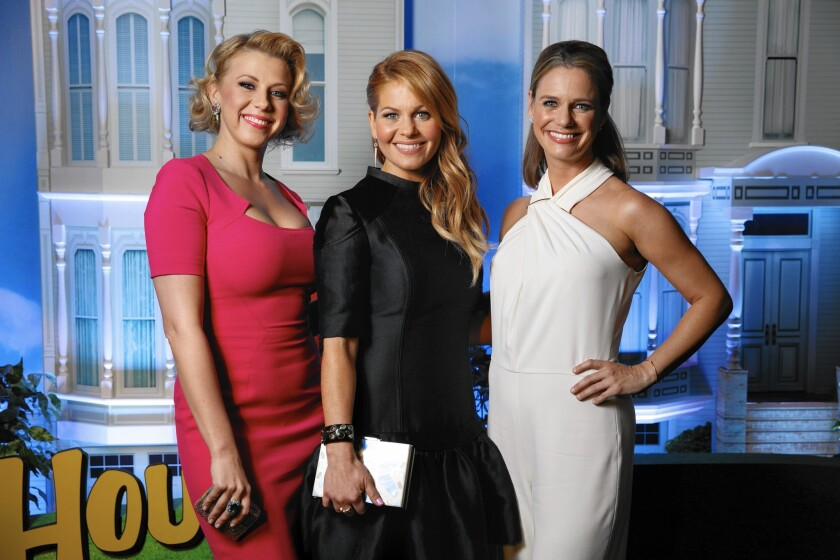 "Jodie Sweetin, left, Candace Cameron Bure and Andrea Barber at the red-carpet premiere of Netflix's ""Fuller House"" at Pacific's Grove Stadium 14 in Los Angeles on, Feb. 16, 2016."