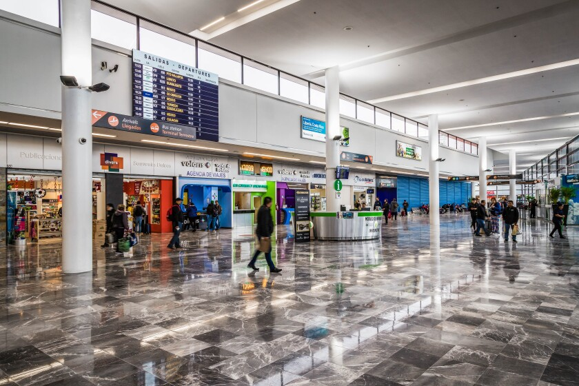 The newly renovated Tijuana airport, originally built in the 1950s, features a sleek new design and expanded space to accommodate 60 percent more travelers since the Cross Border Xpress opened in 2015. Courtesy of Tijuana International Airport.