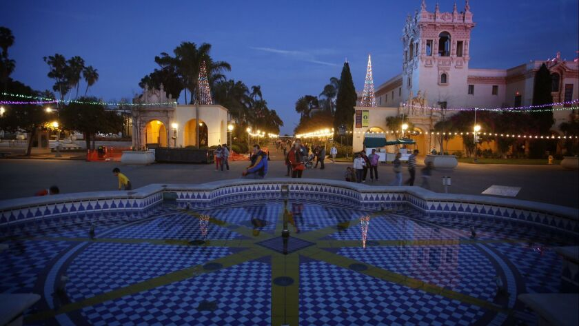 DECEMBER 14, 2014. SAN DIEGO, CA. Twilight falls on the Plaza de Panama in San Diego's Balboa Park.