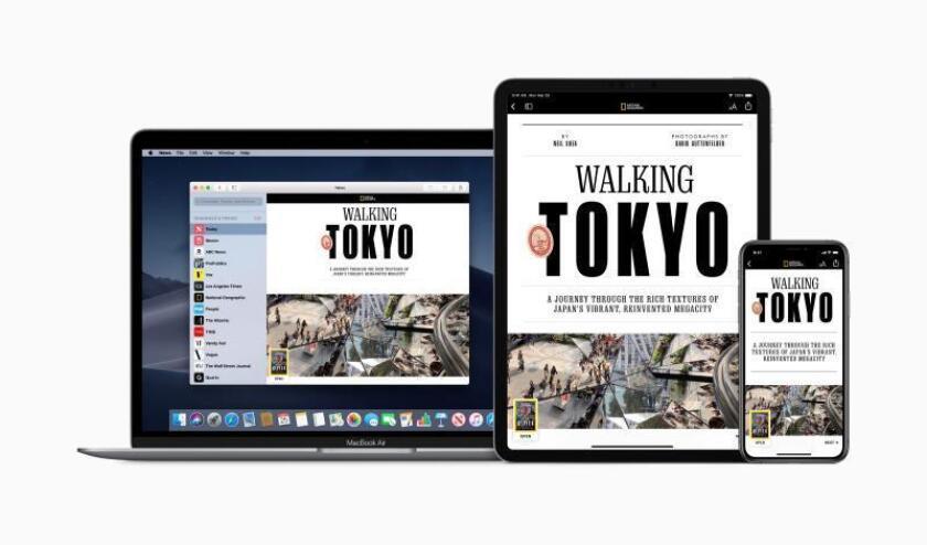 Imagen que muestra las pantallas de varios dispositivos de la compañía de tecnología Apple en las que aparece el nuevo servicio, Apple News+, este lunes en Cupertino, California (Estados Unidos). Apple presentó hoy un nuevo servicio de noticias, Apple News+, que tiene como principal novedad la inclusión de artículos de revistas, algo que no tiene el servicio gratuito existente en la actualidad, Apple News. EFE/ Apple Inc. TODOS LOS DERECHOS RESERVADOS? CRÉDITO OBLIGATORIO: APPLE INC.? FOTO CEDIDA? SÓLO USO EDITORIAL? PROHIBIDO SU ARCHIVO? PROHIBIDA SU VENTA