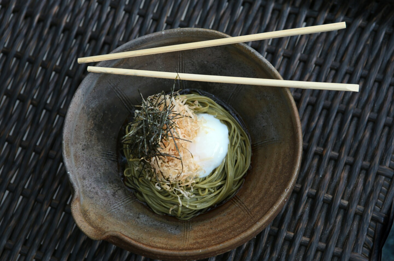 Bukkake Cha Soba (Cold Green Tea Soba with Poached Egg).