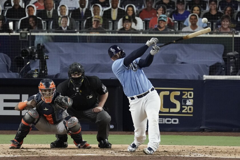 Tampa Bay catcher Mike Zunino hits an RBI single in fifth inning, providing the difference in ALCS Game 1 win over Houston.