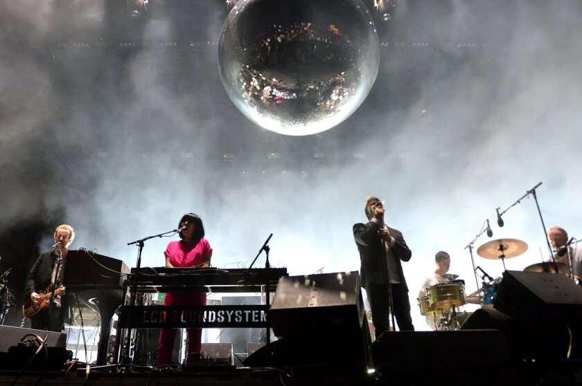 Recording artists Al Doyle, Nancy Whang, James Murphy, Pat Mahoney, and Tyler Pope of LCD Soundsystem perform onstage during day 1 of the 2016 Coachella Valley Music & Arts Festival Weekend 1 at the Empire Polo Club on April 15, 2016 in Indio, California.