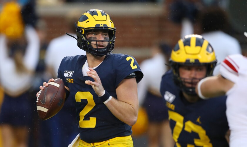 Michigan quarterback Shea Patterson looks to pass against Rutgers on Sept. 28.