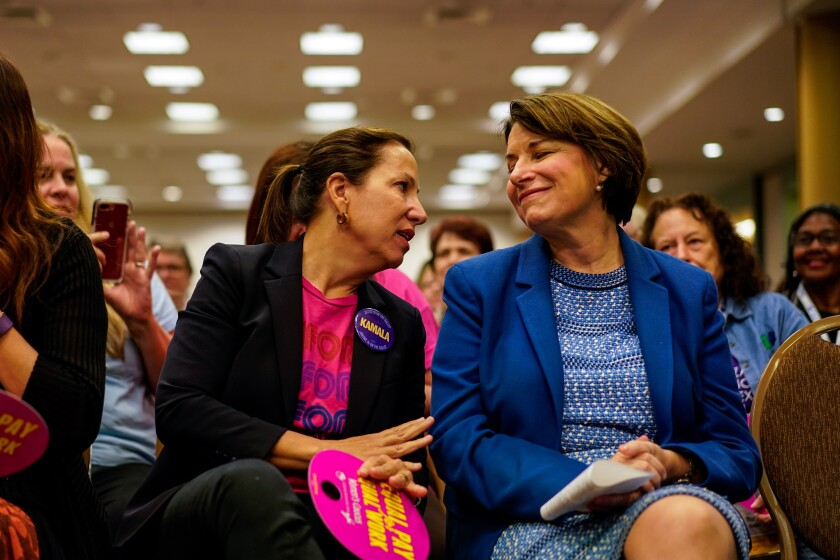 Minnesota Sen. Amy Klobuchar and California Lt. Gov. Eleni Kounalakis.