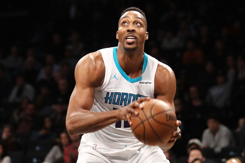 Then-Hornets center Dwight Howard looks to take a shot during a game March 21, 2018, against the Nets at Barclays Center.