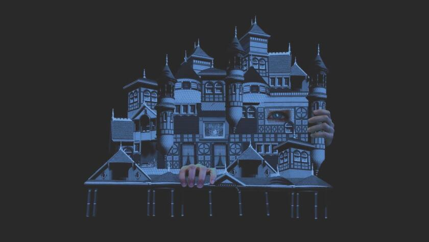 An artist's rendering of Winchester Mystery House, one of the images used in the opera's multi-screen projections, created by 'Inheritance' production designer Ligia Bouton