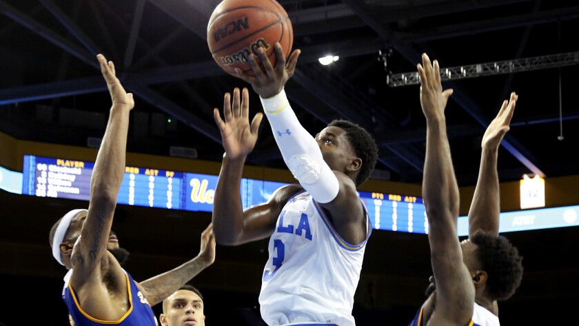 UCLA guard Aaron Holiday drives down the lane for a layup against Cal State Bakersfield during the second half Wednesday.