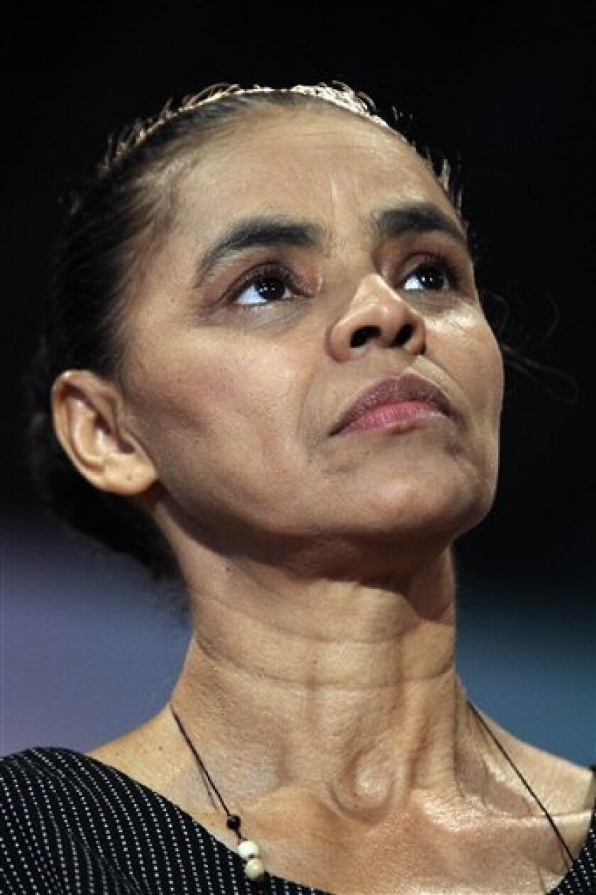 Former Senator Marina Silva attends the opening meeting of Rede Pro-Partido in Brasilia, Brazil on Saturday, Feb. 16, 2013 to try to create a new political party to for the 2014 presidential elections. (AP Photo/Eraldo Peres)