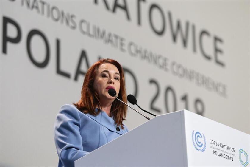La presidenta de la Asamblea General de Naciones Unidas, María Fernanda Espinosa, pronuncia su discurso durante la ceremonia inaugural de la Cumbre del Clima (COP24) que se celebró en Katowice (Polonia), el 3 de diciembre de 2018. EFE/SOLO USO EDITORIAL