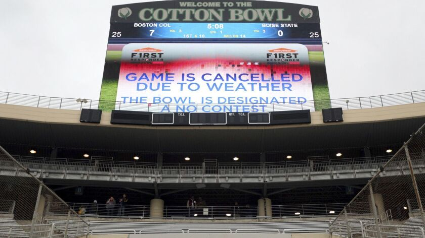 The First Responder Bowl between Boston College and Boise State was canceled due to a severe-weather threat.