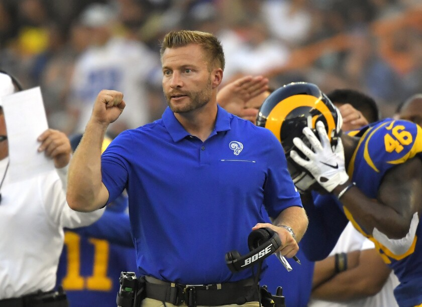 Rams head coach Sean McVay gestures during the second half of a preseason game against the Dallas Cowboys in Honolulu.