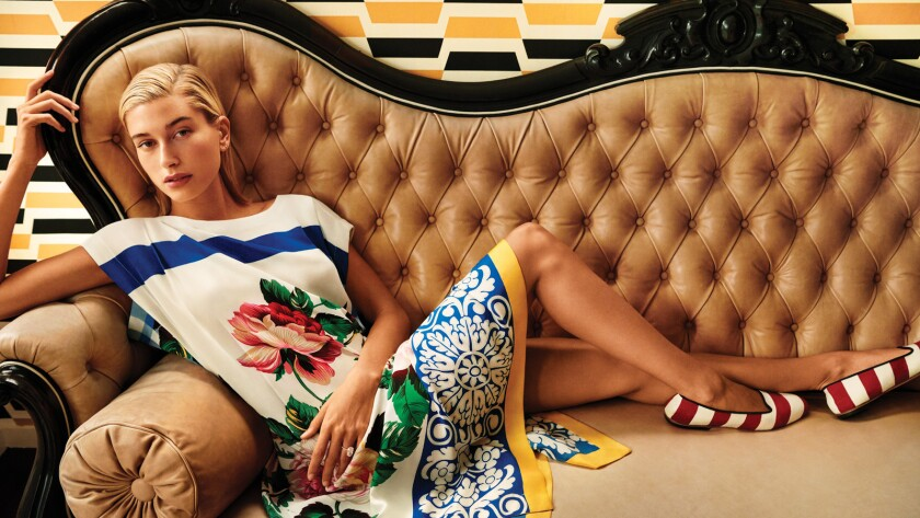 Hailey Bieber appears in the new campaign from Weekend Max Mara's new capsule collection, a collaboration with interior designer Anthony Baratta.
