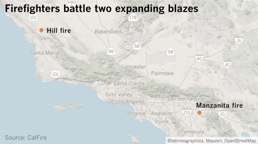 Firefighters battle two expanding blazes