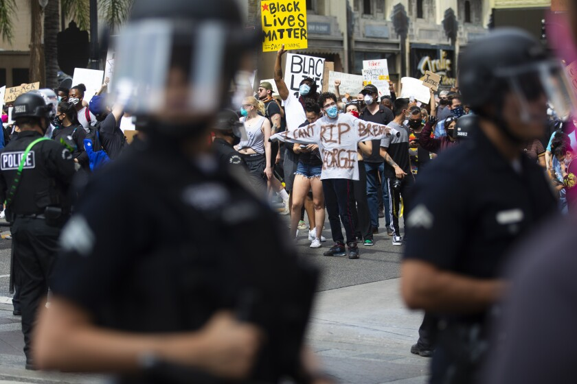 Demonstrators protest peacefully in Hollywood after the death of George Floyd on June 2.