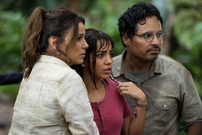 "Eva Longoria, left, Isabela Moner and Michael Peña in ""Dora and the Lost City of Gold."""