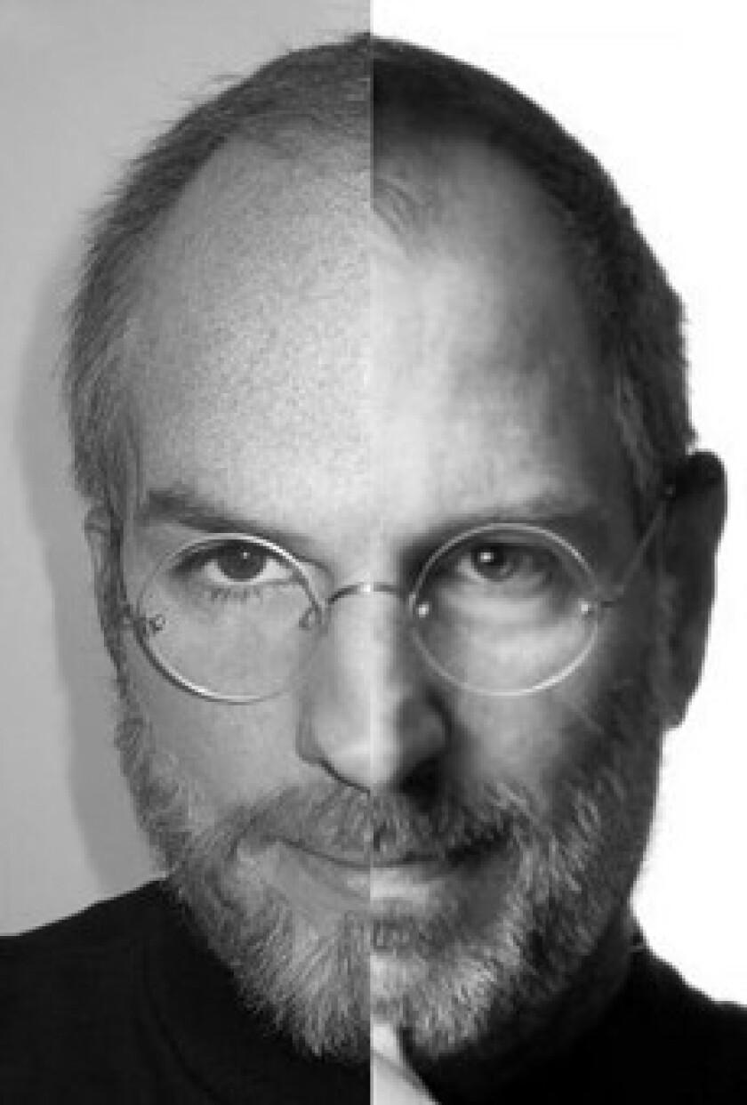 """On Twitter, """"jOBS"""" star Ashton Kutcher shared a split-screen photo of himself as Apple co-founder Steve Jobs and the real Steve Jobs."""