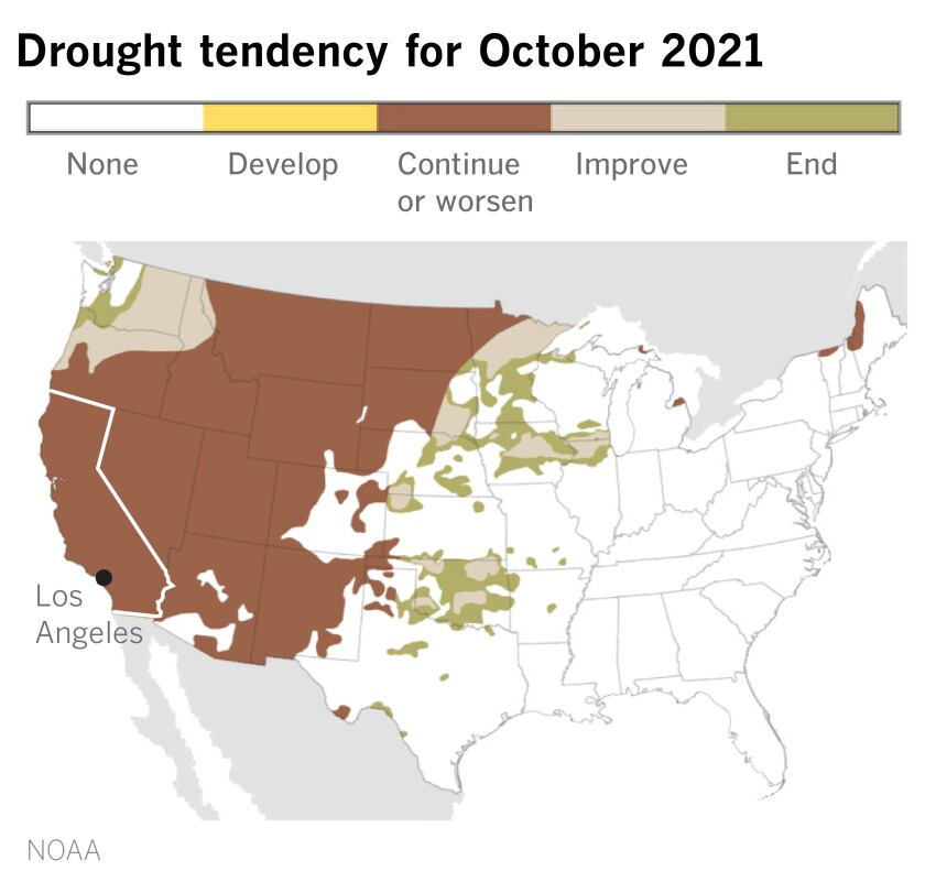 Map showing the trend of drought in the United States for the month of October.