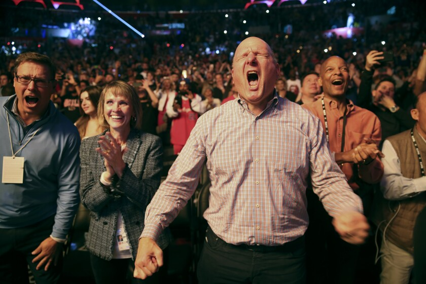 Clippers owner Steve Ballmer shows his usual untethered enthusiasm during pregame introductions before a game against the Lakers at Staples Center.