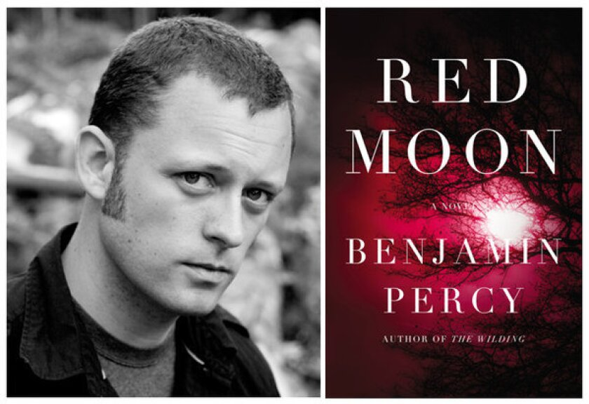 """Author Benjamin Percy and the cover of his novel, """"Red Moon."""""""