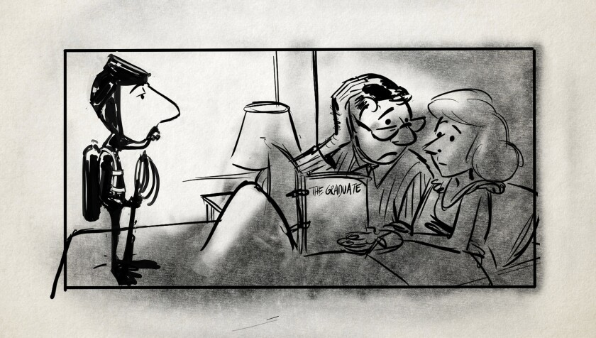 "Illustration by Patrick Mate in Daniel Raim's film, ""Harold and Lillian: A Hollywood Love Story."""