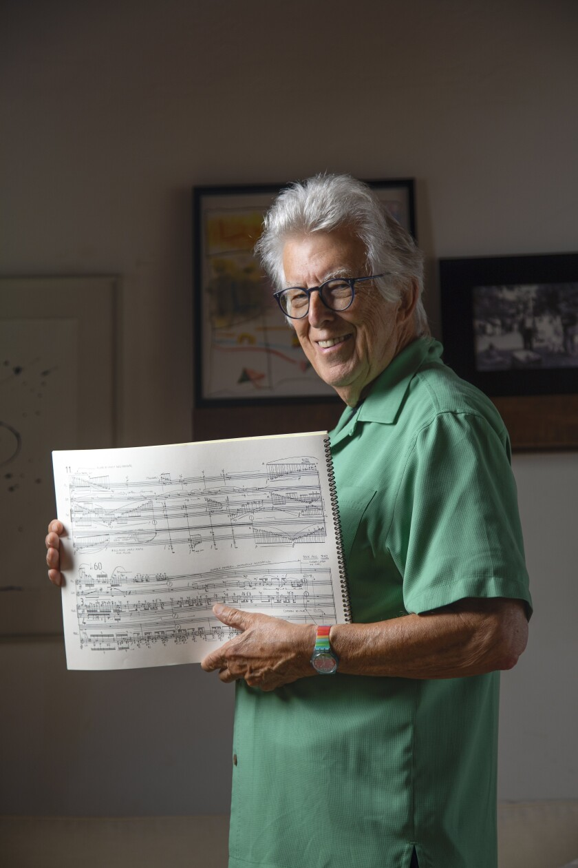 "Pulitzer Prize-winning classical music composer and UC San Diego professor Roger Reynolds is shown at his home in Del Mar. Recalling his first year of teaching at UCSD, he says: ""The students smoked pot in class and brought their dogs!"""