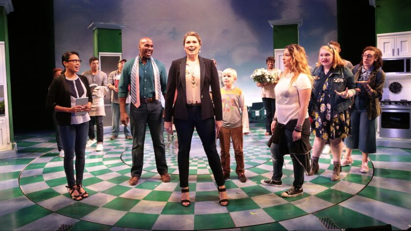 """The cast of the musical """"Freaky Friday,"""" about to get its West Coast premiere at La Jolla Playhouse."""