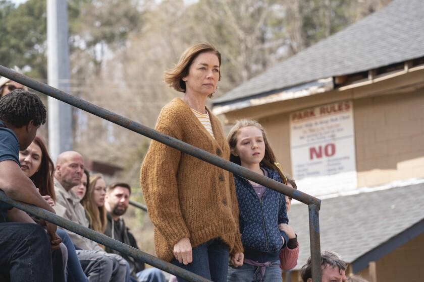 "Julianne Nicholson and child actor Scarlett Blum in ""The Outsider."""