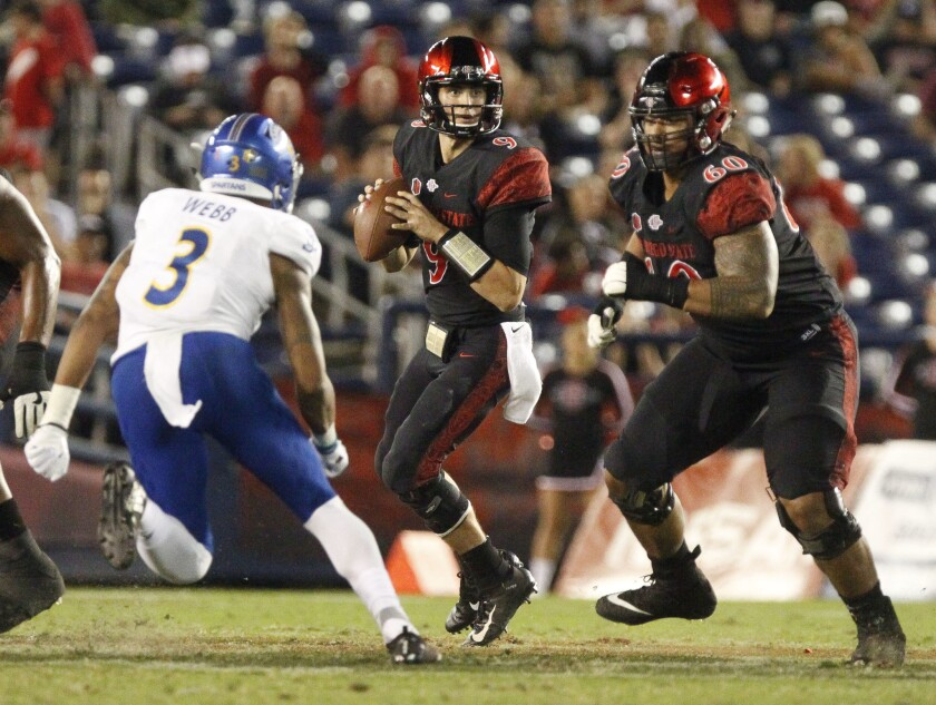 SAN DIEGO, October 20, 2018 | The Aztecs' quarterback Ryan Agnew looks to pass as Keith Ismael prepa