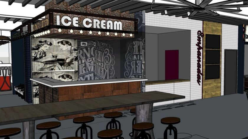 Artist's renderings of the proposed interior for Windmill Food Hall, now scheduled to open in late January in Carlsbad's iconic windmill building.
