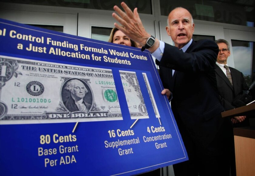 Gov. Jerry Brown held a news conference Friday at Humphreys Avenue Elementary School.