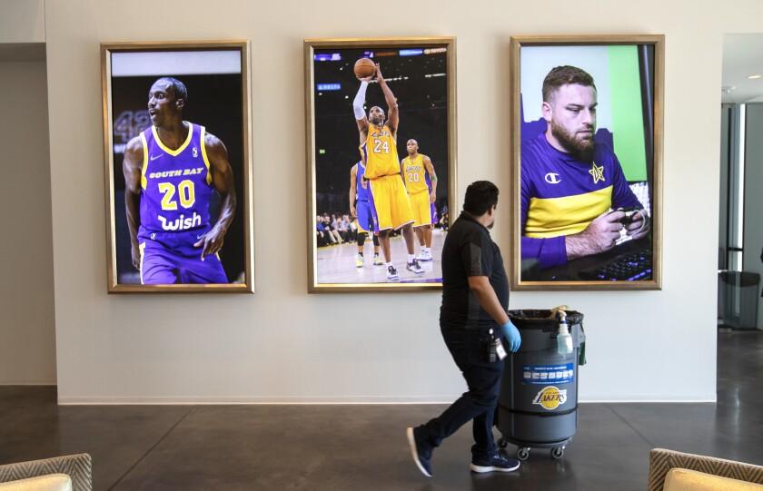 EL SEGUNDO, CA-JUNE 3, 2019: Left to right-Photographs of Andre Ingram of the South Bay Lakers, Kobe