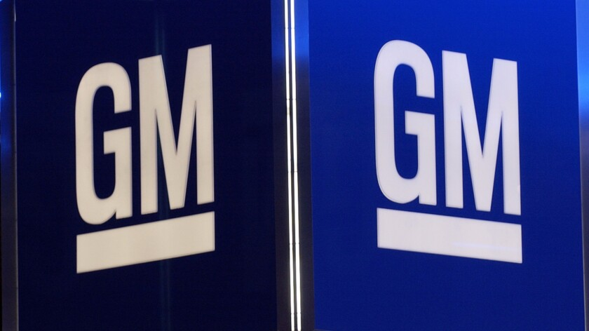This file photo taken on Jan. 11, 2005, shows the corporate logo for the General Motors Co. in Detroit.
