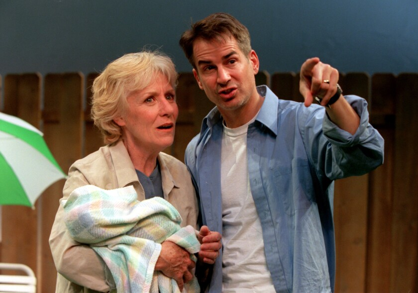 "–––Barbara Tarbuck and Geoffrey Nauffts in 2000 on the set of the play ""The Beginning of August."""