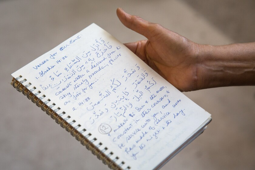 Salma Arastu's notebook. The artist jots down passages from her daily reading of the Quran.