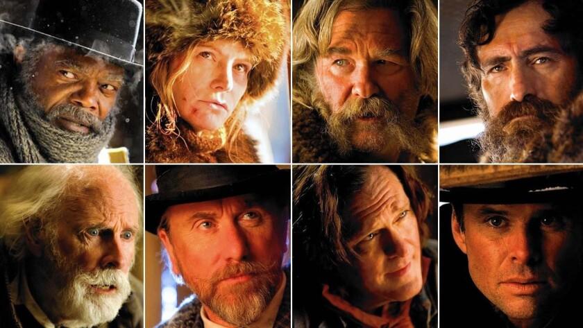 Clockwise from top left: Samuel L. Jackson, Jennifer Jason Leigh, Kurt Russell, Demian Bichir, Walton Goggins, Michael Madsen, Tim Roth and Bruce Dern.