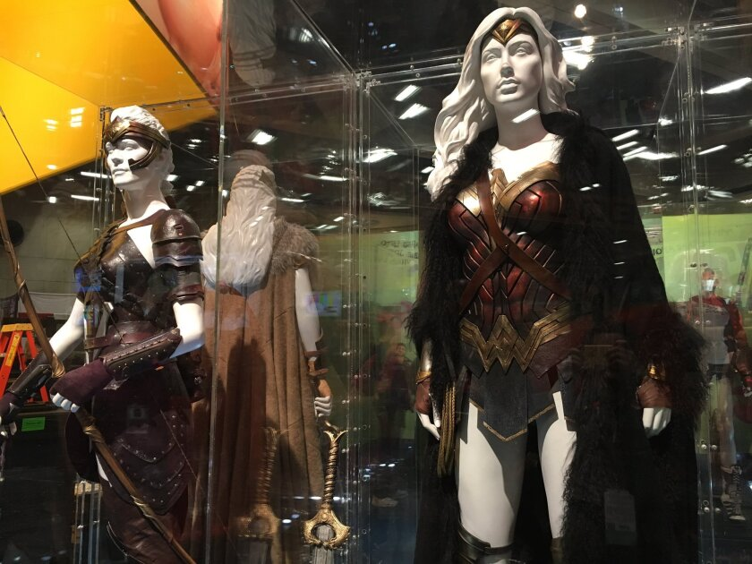 Wonder Woman costumes are on display at Comic-Con in San Diego.