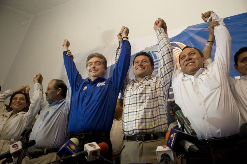 Francisco Vega de Lamadrid of Mexico's National Action Party as he claimed victory Sunday night in the Baja California's governor's race.