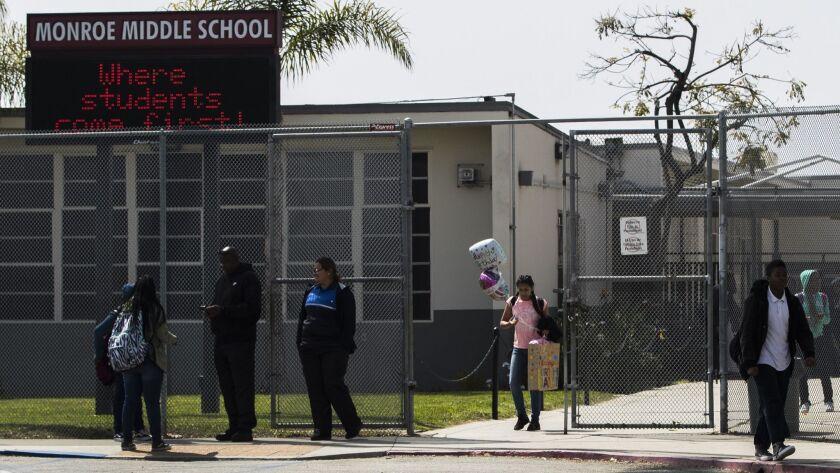 Students leave school in Inglewood, Calif. on April 5.