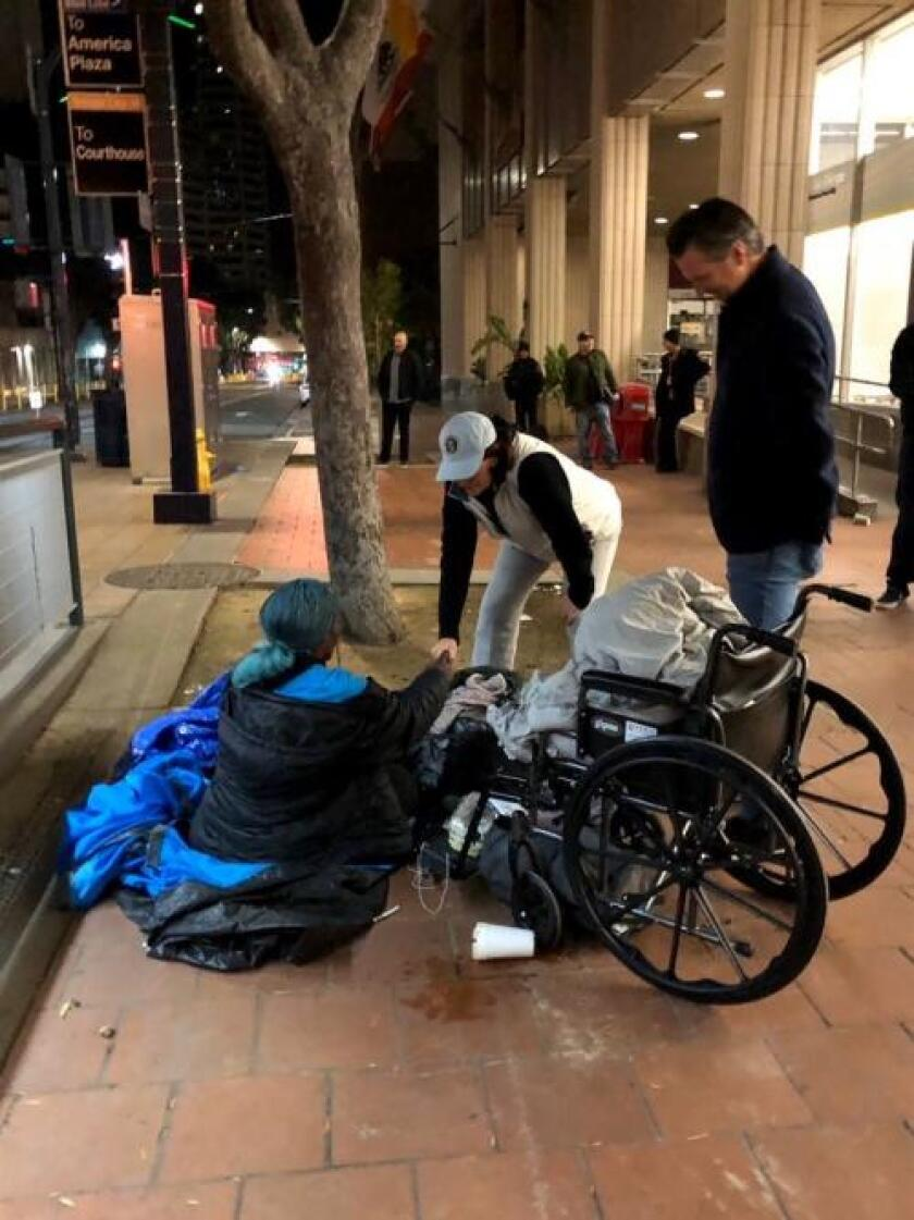 California Gov. Gavin Newsom and state Sen. President Pro Tem Toni Atkins joined volunteers last week for the annual homeless count.