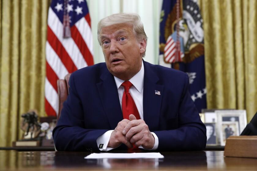 President Trump speaks in the Oval Office last week.