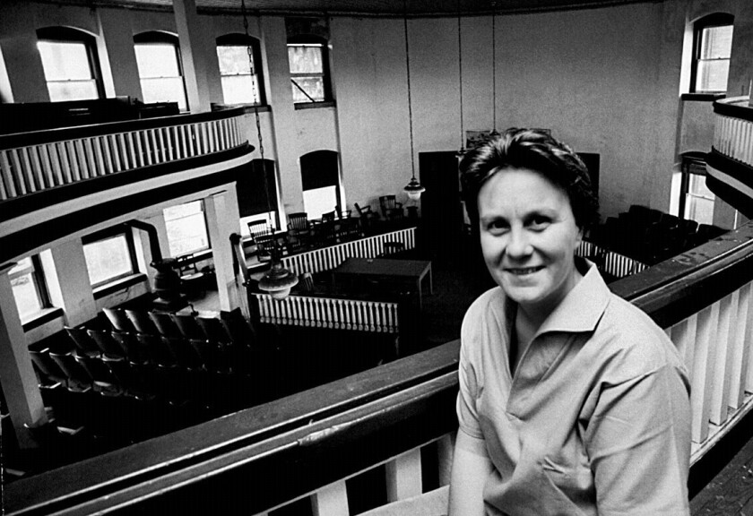 """Harper Lee, author of """"To Kill a Mockingbird"""" and the upcoming """"Go Set a Watchman,"""" in the balcony of the courthouse in Monroeville, Ala., in a May 1961 Life magazine photo."""