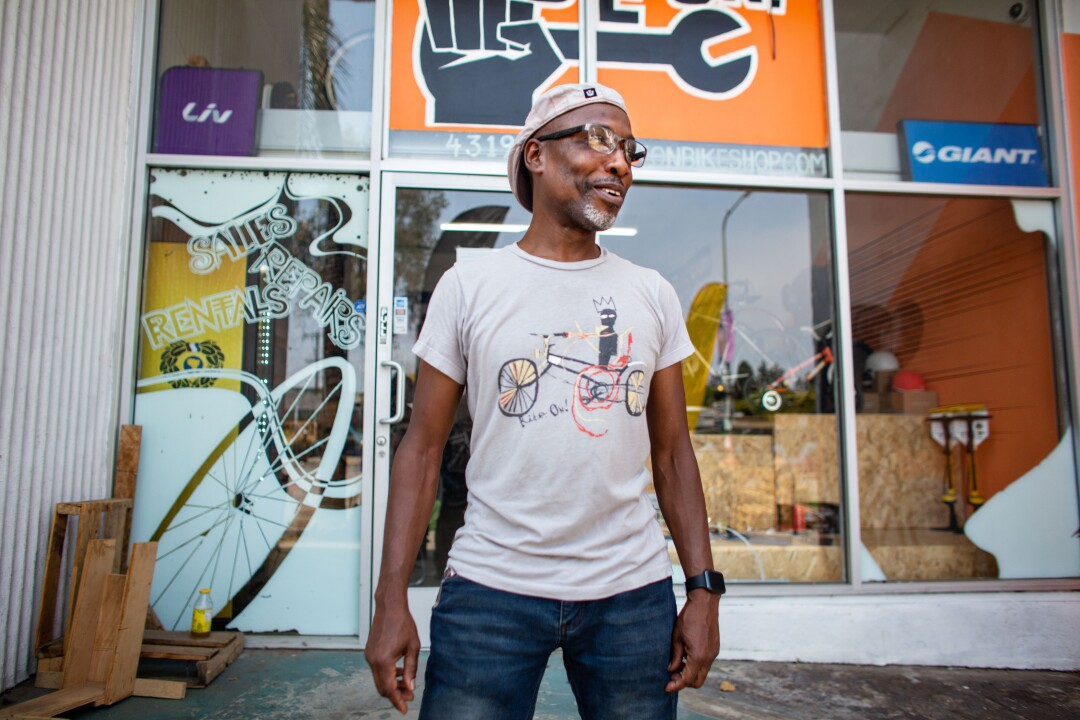 Adé Neff, 55, owns a bicycle shop in Leimert Park.