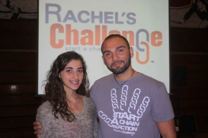 Talia Chalhoub (left) helped organize the presentation by speaker Ali Nourbakhsh with La Jolla High School's Kindness Counts Club. Ashley Mackin photos