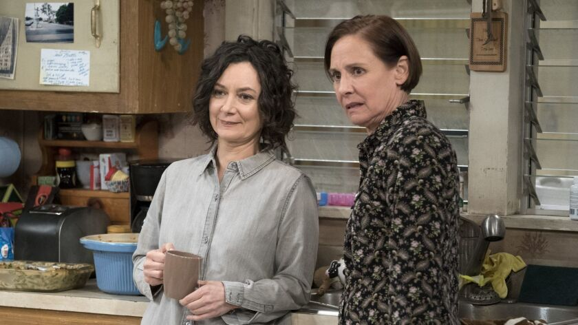 "Sara Gilbert and Laurie Metcalf in the premiere episode of ABC's ""The Conners"""
