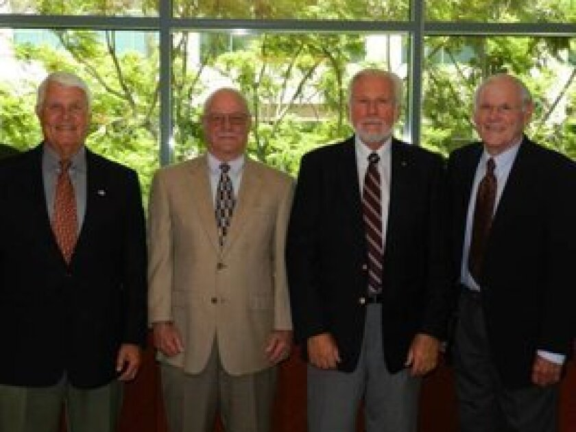 (L-R) Doug Allred, past chairman of the Foundation; Doug Hall, past president of the Foundation; Eric Nelte, new Foundation president; and Terry Lingenfelder, newly elected chairman of the Foundation.