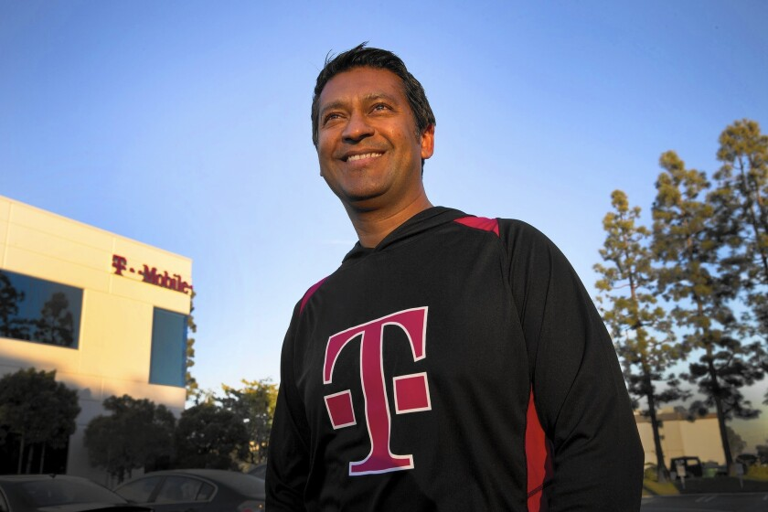 Sam Sindha, senior vice president of the Southwest region for T-Mobile, at his office in Redondo Beach.