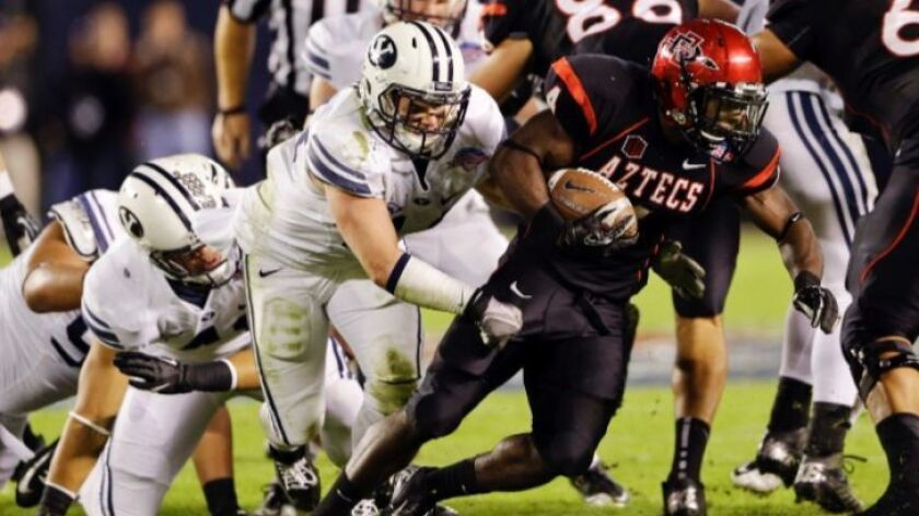 The 2012 Poinsettia Bowl is the only meeting between San Diego State and BYU football teams in the past six years.